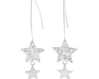 Spirit Sterling Silver Double Star Marquise Earrings