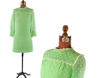 Vintage 1960's Bright Lime Green Sheer Cotton Mod Polka Dot Mini Shift Baby Doll Dress S