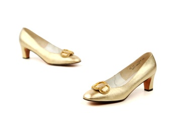 Vintage 1960's Rinaldi Metallic Gold Rhinestone Mod Holiday Party High Heel Cocktail Shoes 9