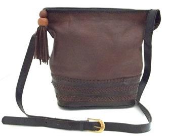 Black And Brown Vintage Leather Purse, Inge Christopher for Indolink, Boho Cross Body