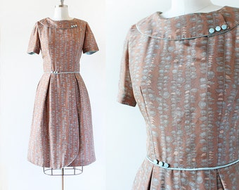 1950s Party Dress / Copper Leaf Print Dress / Satin Party Dress with Rounded Collar / Button Trim Party Dress / Small Medium