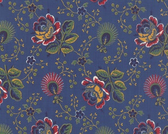 Lorraine cotton blue floral fabric by American Jane for Moda fabric 21681 13