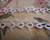"Pretty Antique Hand Tatted Light Ecru Lace Trim 3/8"" Wide, 2 pieces 52"" and 16"""