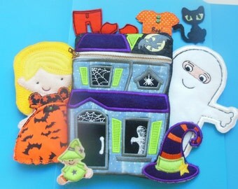 Complete Halloween Non Paper Felt Doll Set with Haunted House Zippered Holder