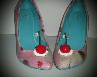 Cupcake high heels/ hand crafted pink shoes/handcrafted shoes/shoes/unique shoes / Dessert shoes/cupcake shoes/Pink /MADE TO ORDER