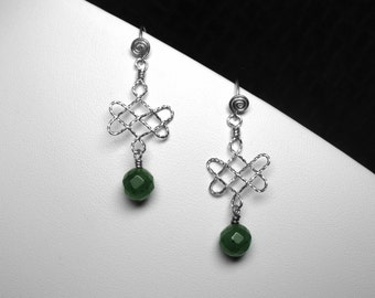 Chinese Jade Earrings with Celtic Knot Pattern in Silver, 8 mm