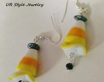 Candy Corn Halloween Ceramic Lampwork Disc Swarovski Crystal Hematite Earrings