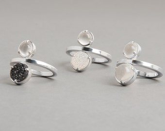Sterling Silver Luna Two Stone Ring | Voyager Collection from Haley Lebeuf