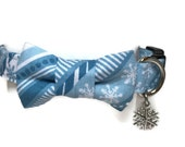 Crystal Blue Snowflakes Bow Tie Dog Collar All Sizes