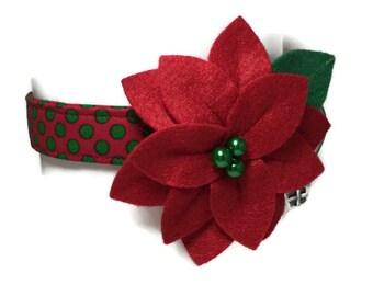 V.I.P. Christmas Polka Dot Poinsettia Dog Collar