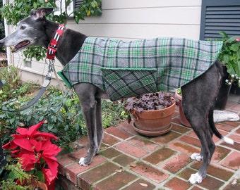 Custom Flannel Greyhound Dog Coat & Jacket, XL Dog Coat, Sighthound Coat, Big Dog Coat, Choose Your Fabric