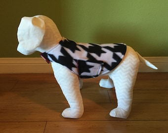 Small Houndstooth Dog Coat, Black & White Fleece with Red Fleece Lining