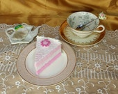 Vintage and newer Mismatched Footed Teacup, Saucer, bread and butter / dessert plate, tea bag holder, and spoon, Tea For One, Shabby Chic