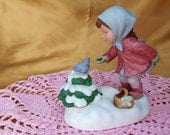 Vintage Avon 1986 We Wish You a Merry Christmas Musical Figurine - porcelain collectible holiday handpainted
