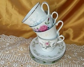 Mismatched tea cups and saucers 4 mix & match sets floral for Tea Party, Wedding, Bridal Shower, Luncheon shabby chic cottage farmhouse