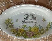 25th Anniversary China Candy Dish - Oval Serving Dish Japan - Shabby Cottage Chic Silver Anniversary Vintage