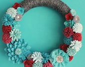 Felt Flower Wreath, Dahlia Wreath, 14 Inch Gray Yarn Wrapped Wreath with Felt Flowers, Turquoise and Gray/Modern Red and Turquoise Wreath