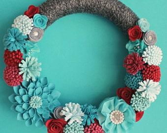Felt Flower Wreath, Dahlia Wreath, 14 or 16 Inch Gray Yarn Wrapped Wreath with Felt Flowers, Modern Red and Turquoise Wreath