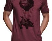 Turtle On A Hot Air Balloon T Shirt - American Apparel Tshirt - S M L XL XXL (Color Options)