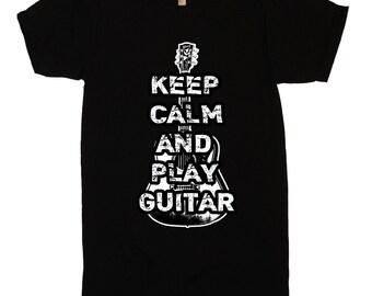 Guitar T-Shirt Keep Calm and Play Guitar T Shirt - Funny Guitar T Shirt - Mens Womens Punk Novelty Gifts - Musician Guitar Player Tee Shirt