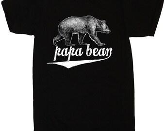 Papa Bear T-Shirt Grizzly Bear TShirt Fathers Dads Gifts - S M L Xl 2X