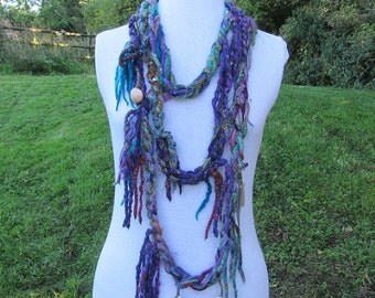 Peacock Loop Scarf Cowl Autumn Circular Cosy Neck Warmer Felted Warm Winter Natural Wool Wrap Infinity Scarf Lariat Upcycled Necklace Snood