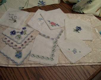 "Vintage Handkerchief Lot of 10 Whites ""Something Blue"" Ideal for Weddings Embroidered"