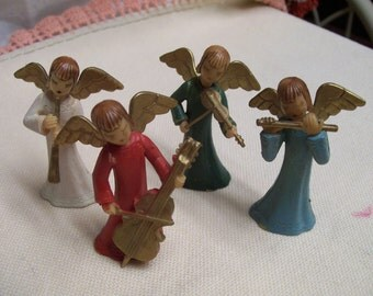 Vintage Angel Musicians Lot of 4 Hard Plastic Hong Kong Band of Angels with Instruments Mid Century Circa 1950s Vintage Holiday Decor