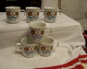 Vintage Berggren Mugs Rosmaling Pattern Circa 1970s 6 Available