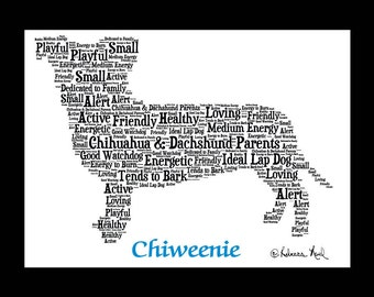 Chiweenie art, Chiweenie Custom, Personalize, Chiweenie Gift, Chiweenie Print, Dog Art, Pet Art, Pet Memorial, Custom Dog Art
