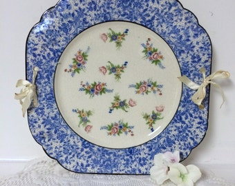 Vintage Decorative Hanging Plate with Ribbon - Blue and White with Pink Roses - Cottage Chic Shabby Chic