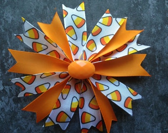 "Adorable 4"" Candy Corn Spiked Bow"