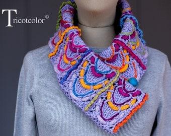 Echarpe col en coton et laine tricoté à la main