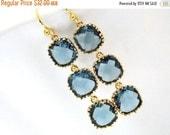 SALE Blue Earrings, Gold Blue Earrings, Navy Blue, Montana Blue, Long, Wedding Jewelry, Bridesmaid Earrings, Bridal Earrings, Bridesmaid Gif