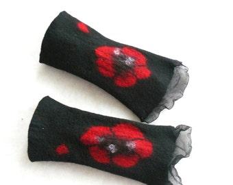 Merino wool fingerless gloves, nuno felt gloves, romantic design, red, black women accessories, handmade