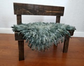 Spruce Green Felted Curly Wool Fluff Layer/ Mat/ Basket Stuffer Photo Prop, Wool Baby Blanket, READY TO SHIP