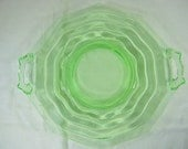 Vintage VASELINE CAKE Plate Green Glass Jenkins Ocean Wave Ripple Tea Room Uranium Glows