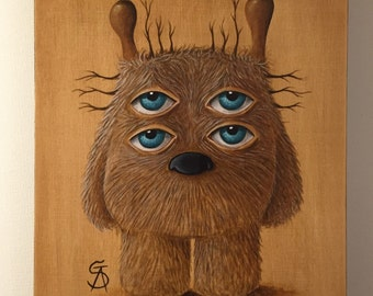"""Original pop surreal painting on wood canvas by Olivier Castillon """"double eyes sweet monster"""""""