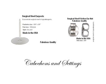 10mm Pad Earring Stud Posts & Clutch Back Hypoallergenic Surgical Steel Made USA Number Variations  - AUSTRALIA