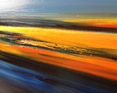 """Abstract landscape oil painting in blue, yellow and orange - 19,7"""" x 27,6"""""""