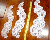 "Large 11"" WHITE LACE APPLIQUES, White Beaded Lace accents trimming by Vegas Veils. Ships Today!"