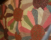 """Vintage, Six Quilt Pieces, Hand Sewn, Backed, 16""""W each, Vintage Calico Cotton Fabric"""
