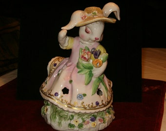 """Vintage Fritzy Rabbit Candle Lamp, Girl with Tulips, Hat, Dress, Openings for Glow, 7.5""""H"""
