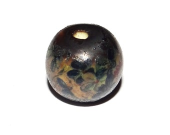Unusual Ceramic Focal Bead Rustic Flower Floral Navy Stoneware Pottery Focal