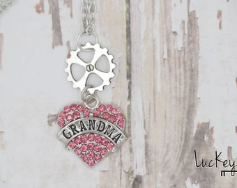Grandma Necklace, Mother's Day Gift, Mother's Day Jewelry, Bike Necklace, Bike Jewelry, Cycling Necklace, Cycling Jewelry, Bicycle Necklace