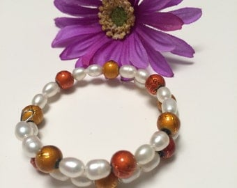 Pearls and Glass Memory wire bracelet