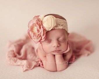 Shabby Chic Newborn Headband, Baby Girl Headband,  Photo Prop, Hair Accessory