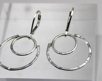 Hoop Earring, sterling silver hoop earring, small hoop earring, women, eco friendly, hand hammered, hand forged