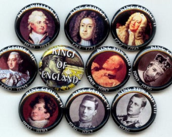 "Kings of England Historical British Royalty 10 Pinback 1"" Buttons Badges Pins"
