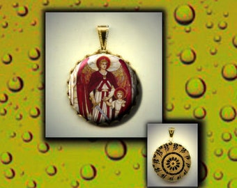 St RAPHAEL the Archangel Patron Healing Saint of LOVE  flat button CABOCHON in Brass Charm / Pendant